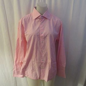 STONE ROSE PINK DOTTED COTTON BUTTON DOWN SHIRT L